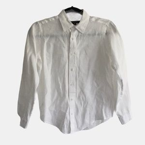 BROOKS BROTHERS Linen Button Front Shirt White M